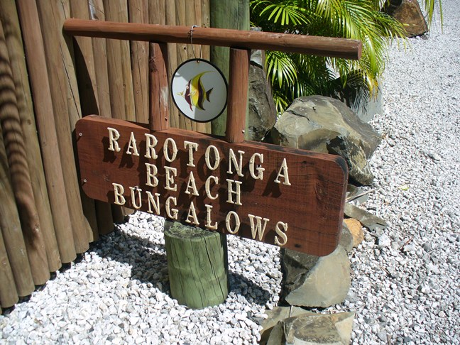 Rarotonga Beach Bungalows Sign